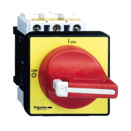 Komplett fő- és vészleállító kapcsoló 12A, ajtóra, csavaros