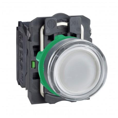 Harmony komplett műanyag LED világító nyomógomb, O22, visszatérő, 1NO+1NC, 24VAC/DC, fehér