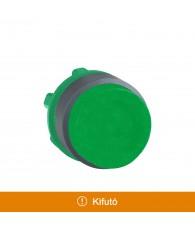 Harmony műanyag nyomógomb fej, O22, nyomó-nyomó, kiemelkedő, zöld