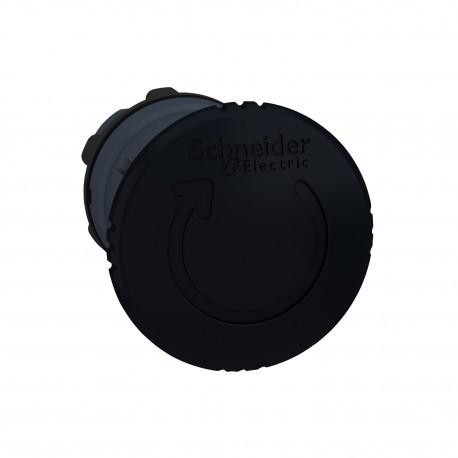 Harmony műanyag nyomógomb fej, O22, visszatérő, O40 gombafejű, forgatásra kioldó, fekete