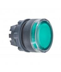 Harmony műanyag világító nyomógomb fej, O22, visszatérő, beépített LED-hez, zöld