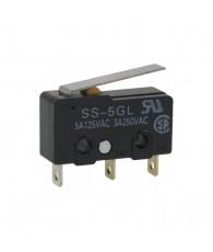 Miniatür általános célú mikrokapcsoló lemezkaros működtető egységgel.