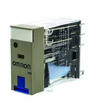 Ipari relé 24VDC, 2 váltóérintkezővel (5A), működésjelző LED-del, tesztgombbal, védődiódával