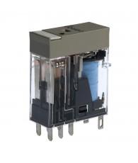Ipari relé 12VDC, 2 váltóérintkezővel (5A), védődiódával, működésjelző LED-del
