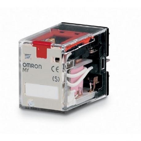Ipari relé 220/240VAC, 2 váltóérintkezővel (10A), működésjelző LED-del, tesztgombbal