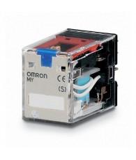 Ipari relé 12VDC, 4 váltóérintkezővel (5A), működésjelző LED-del, tesztgombbal