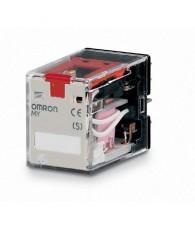 Ipari relé 24VAC, 4 váltóérintkezővel (5A), működésjelző LED-del, tesztgombbal