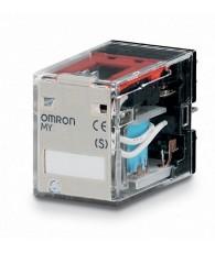 Ipari relé 24VDC, 4 váltóérintkezővel (5A), működésjelző LED-del