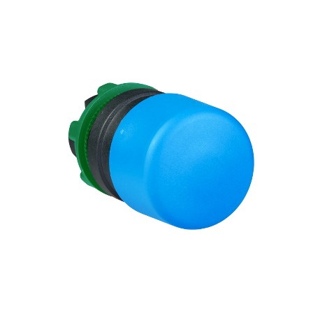 Harmony műanyag O30 gombafejű nyomógomb fej, O22, visszatérő, kék