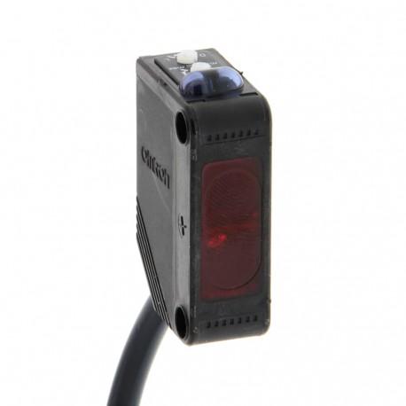 Fotoelektromos érzékelő, tárgyreflexiós, érzékelési távolság 100mm, PNP-kimenet, 2m beöntött kábellel