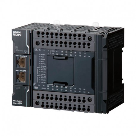 Sysmac NX1P CPU with 24 Digital Transistor I/O (NPN), 1 MB memory, EtherCAT (0 servo axes, 2 PTP axes, 8 EtherCAT nodes), EtherN