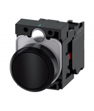Pushbutton, 22 mm, round,plastic, black, pushbutton,flat, momentary contact type,with holder 1 NC, screwterminal
