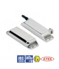 Non-contact door switch, ex zone, reed, elongated stainless steel, 2NC+1NO, 5m cable