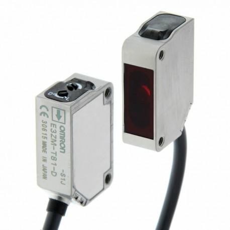 Fotoelektromos érzékelő rozsdamentes acél tokozásban, adó-vevős, érzékelési távolság 15m, NPN-kimenet, 2m beöntött kábellel