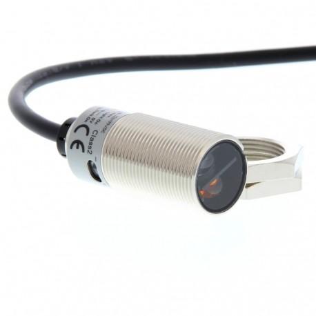 Fotoelektromos érzékelő M18-as fémházas, tárgyreflexiós, érzékelési távolság 200mm, NPN-kimenet, 2m beöntött kábellel