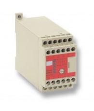 Vezérlőlogikával ellátott biztonsági relé, kétkezes indító funkció. 3 záró-, 1 nyitó érintkezővel. Tápfeszültség: 24 VAC/VDC.