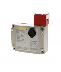 Reteszelt, fémtokozású biztonsági ajtókapcsoló. Mechanikus reteszelés, elektromos oldás 24 VDC