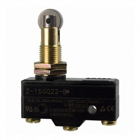 General purpose basic switch, panel mount roller plunger, SPDT, 15 A, screw terminals