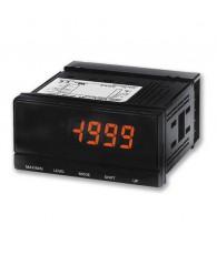 96x48-as előlapméretű panelműszer, DC feszültség és áram mérésre, kijelzésre, 2db relé kimenettel. Mérési tartományok: 1,000...5